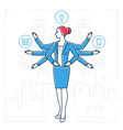 multitasking - line design style isolated vector image vector image