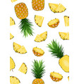 pineapple fruits and slice seamless pattern on vector image