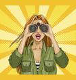 pop art surprised woman with binoculars vector image vector image