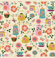 seamless garden tea party pattern vector image vector image