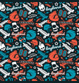 seamless pattern with image of longboarding vector image vector image