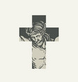 sign christian cross with crucified jesus vector image