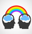 Silhouette of a mans head with a rainbow and vector image