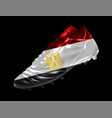 soccer football boot with the flag of egypt vector image vector image