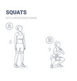 squats with resistance band female home workout vector image vector image