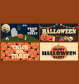 trick or treat set of posters vector image vector image