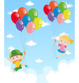 two kids holding balloons in the sky vector image