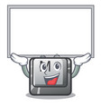 up board button m on a keyboard mascot vector image vector image