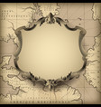 vintage decorative frame against old geographic vector image