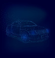 wireframe of the car from the blue lines on a dark vector image vector image