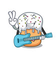 with guitar easter cake mascot cartoon vector image vector image