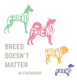 Dog breed silhouette with friendship concept text vector image