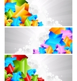 3D star banners vector image