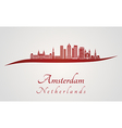 Amsterdam V2 skyline in red vector image vector image
