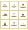 assembly flat icons rocket geography physics vector image vector image