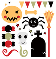 Beautiful cute halloween design elements vector image