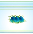 Blue Easter eggs and green spring grass vector image