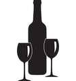 Bottle and glass of wine vector | Price: 1 Credit (USD $1)
