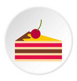 cake with cherries icon circle vector image vector image