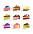 cartoon color sweet cake dessert slice icon set vector image