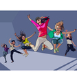 cartoon happy girls jumping vector image vector image
