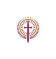 catholic christian cross sword blade church logo vector image