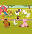 cute bafarm animals with village landscape vector image