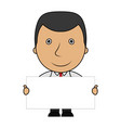 cute cartoon businessman holding a blank sign vector image vector image
