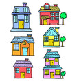 doodle of house set style collection vector image vector image