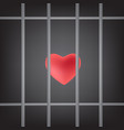 dramatic red heart was imprisoned in prison bars vector image vector image