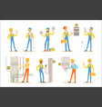 electrician specialist with electric wires at work vector image