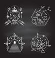 esoteric symbols thin line geometric vector image