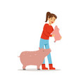 farmer woman caring for her pigs farming and vector image vector image