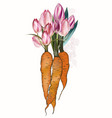 fashion spring with carrot and tulip flowers vector image vector image
