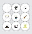 flat icon celebrate set of spirit witch cap vector image vector image
