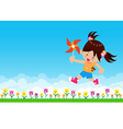 Girl and paper wind turbine on Nature background vector image vector image