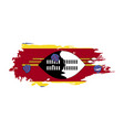 grunge brush stroke with swaziland national flag vector image vector image