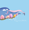 happy easter spring paper cut 3d vector image vector image