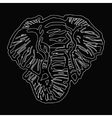 head of elephant white outline on black background vector image vector image