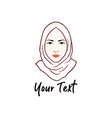 hijab logo young lovely muslim girl flat design vector image vector image