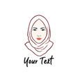 hijab logo young lovely muslim girl flat design vector image