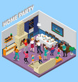 home party isometric composition vector image vector image