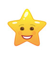 laughing star shaped comic emoticon vector image