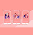 love mobile app page onboard screen set young man vector image vector image