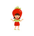lovely laughing girl in headdress in form of red vector image vector image