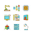 minimal lineart flat technology iconset vector image vector image