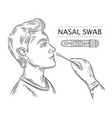nasal swab probe medical coronavirus pcr testing vector image vector image