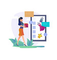 online shopping concept happy woman shopping vector image vector image