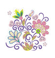 ornate ornament with fantastic flowers vector image vector image