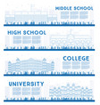 outline set university high school and college vector image vector image